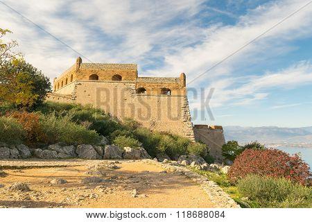 Palamidi castle at Nafplio in Greece landscape.