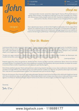Modern Cover Letter Resume Cv With Orange Ribbon