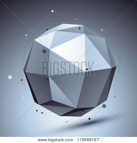 Modern Digital Technology Style, Abstract Background With Orbital Undertone Figure And Asymmetric Wi