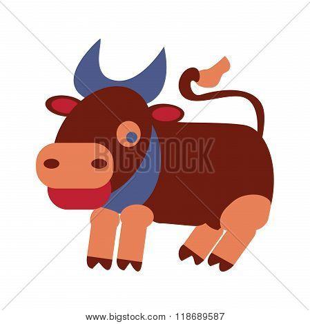 Cute Bull. Vector Clip Art Illustration. All In A Single Layer.