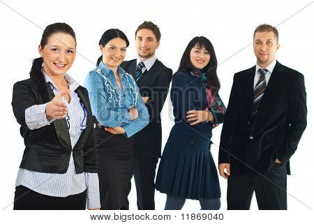 Business Woman Welcome Sign Hand Gesture