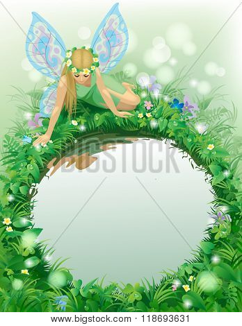 Fairy girl with blue wings seated near the round pond bordered by plants and flowers. Poster and Cover book design