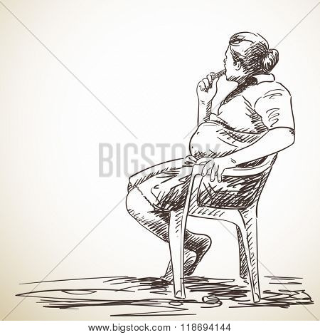 Sketch of man sitting on chair, Hand drawn illustration