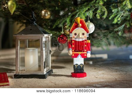 Nutcracker under the Christmas tree