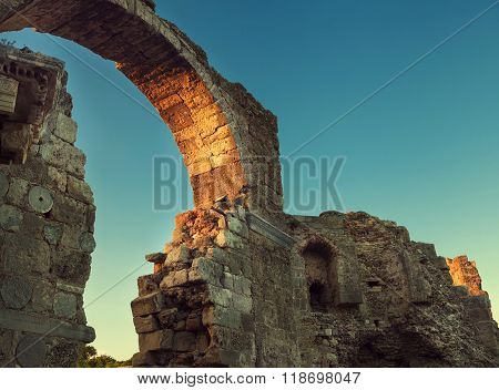 Side Archway Ruins In Sunset Time