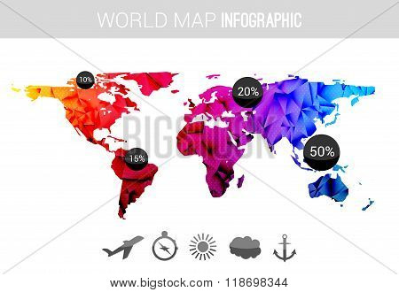 Vector 3d world map with points and percantage. Triangle blue red globe travel world map infographic
