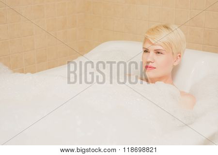 Woman in hydro massage. She receives medical treatments for relaxation.