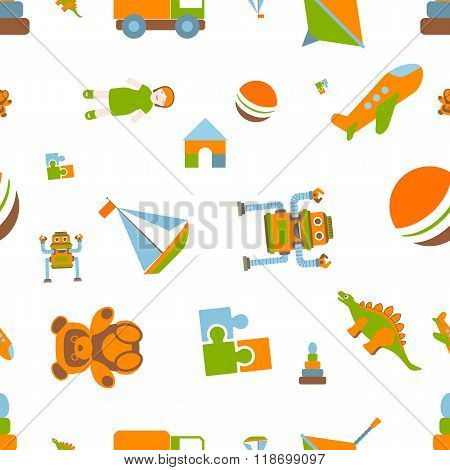flat vector illustration seamless pattern of children's toys.