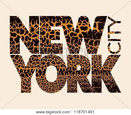 New York City Typography Graphic. Craquelure