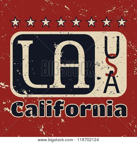 Los Angeles City Typography Graphic Grunge