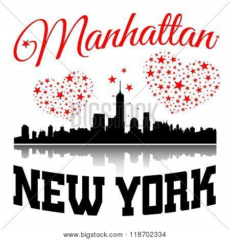 New York City Typography Graphic With Hearts And Stars