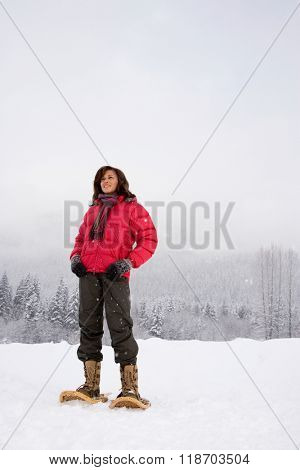 Portrait of a mature woman in the snow