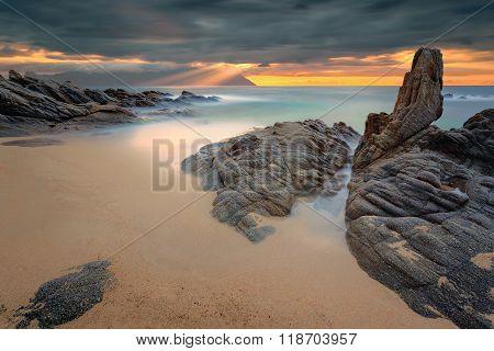 Dramatic Summer Seascape At Beautiful Morning