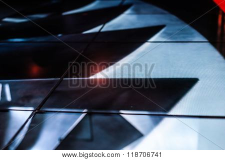 Led Floor Technology And Blue Pattern Electronic Reflection