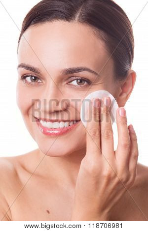 Beautiful Woman Girl Cleansing Her Face With Cotton Pad Fiber