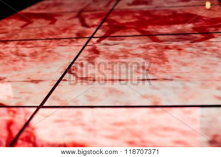 Led Floor Technology Deep Red Pattern Electronic Reflection