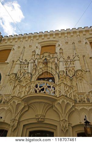 White Castle romantic balcony Hluboka Czech Republic