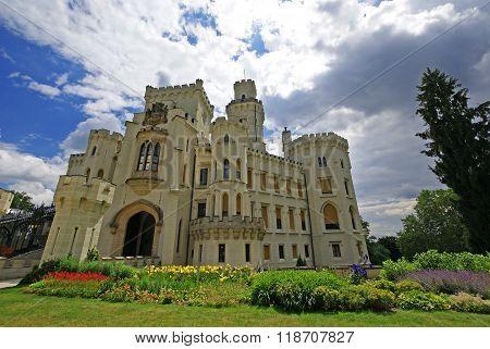 White Castle romantic view Hluboka Czech Republic
