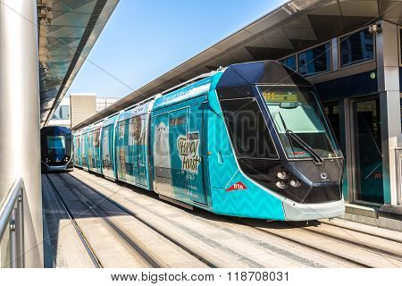 New Modern Tram In Dubai