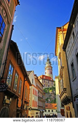 View of the tower of the castle of Cesky Krumlov