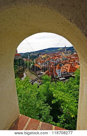 View of the city through a loophole castle of Cesky Krumlov