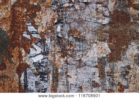 rusty grunge background with poster scraps