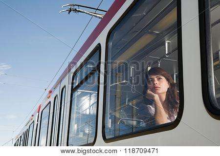 Woman on light rail