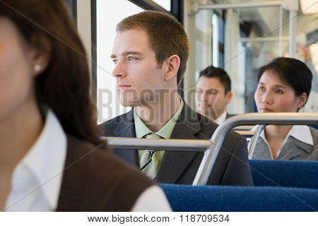 Commuters on light rail
