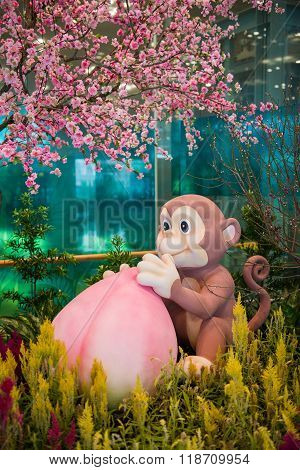 Chinese New Year Monkey Mascot With Peach