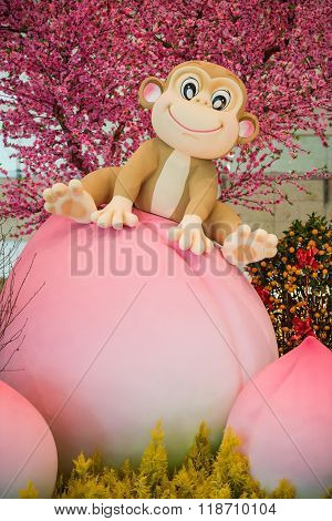 Monkey Mascot Sitting On Peach - Chinese New Year Decoration