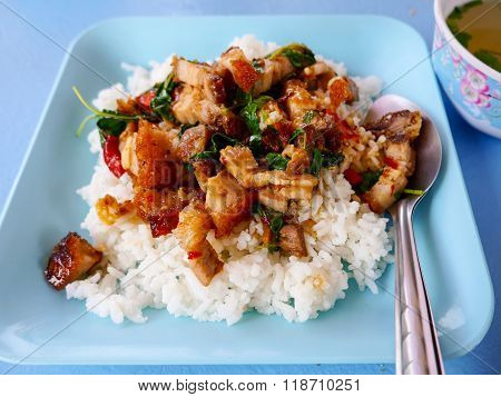crispy pork with basil spicy fired rice & soup