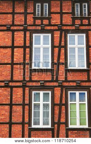 half-timbered wall with windows