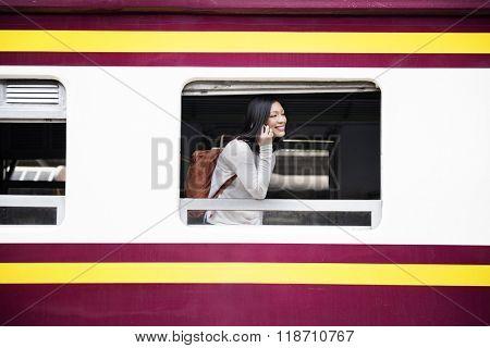 Train Waiting Arrival Departure Railway Station Concept