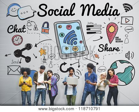 Social Media Chat Share Global Communication Concept