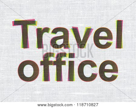 Tourism concept: Travel Office on fabric texture background