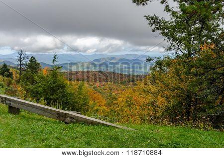 Blue Ridge Parkway Guard Rail In Fall