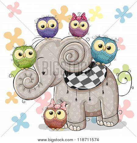 Elephant And Owls
