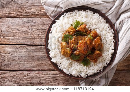 Indian Food: Madras Beef With Basmati Rice. Horizontal Top View