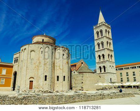 Ancient tower in Zedar Croatia with bluesky