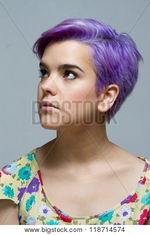 Violet Short-haired Woman Looking Up