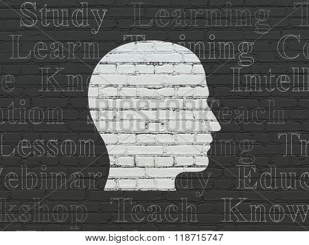 Education concept: Head on wall background