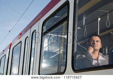 Man on light rail