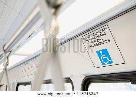 Inside light rail train