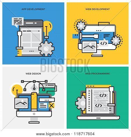 Flat line design vector illustration concept of App Development, Web Development, Web Design, Web Pr