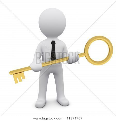 3D man with a key