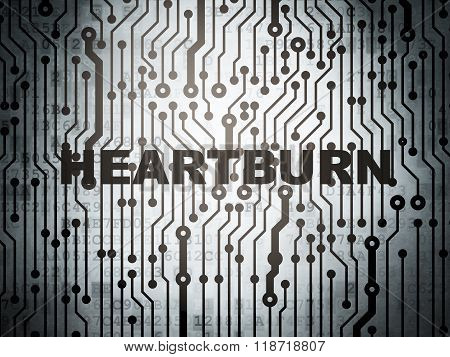 Health concept: circuit board with Heartburn
