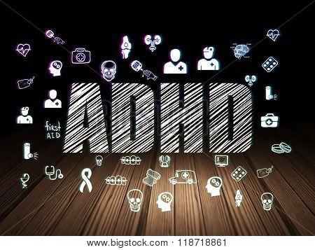 Healthcare concept: ADHD in grunge dark room