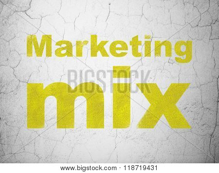 Advertising concept: Marketing Mix on wall background