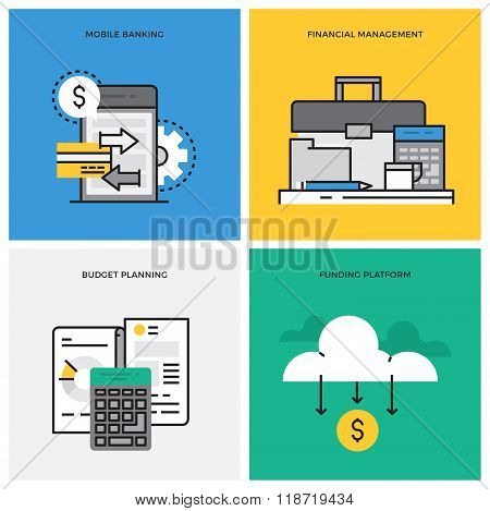 Flat line design vector illustration concept of Mobile Banking, Financial Management, Budget Plannin