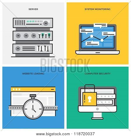 Flat line design vector illustration concept of Database, Server, System Monitoring, Computer Securi